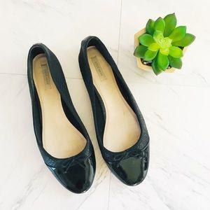 Cole Haan 9 Snakeskin Black Ballet Flats Bow Round